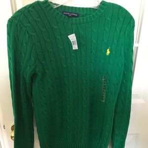 Kelly Green Ralph Lauren Cable-Knit Sweater - NWT